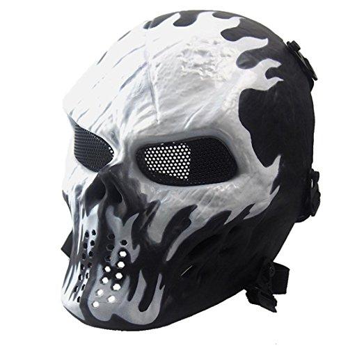 Hcfkj airsoft paintball full face teschio scheletro cs maschera tattico militare halloween bianco
