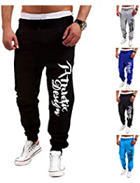 Junsi Men's Jogging Sports Slacks Hose Trousers Fashion Letters Printed Casual Gym Pants Hose