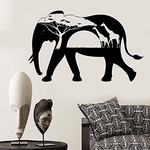 jiushizq Animales africanos Elefante Jirafa Naturaleza Vinilo Tatuajes de Pared Decoración para...