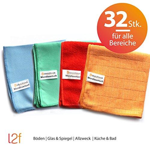 Microfaser Tücher clean2magic Allzweck (32-teilig) | Mikrofasertücher, jeweils für 8 x Böden (blau), 8 x Glas/Spiegel (grün), 8 x Multizweck (rot), 8 x Küche/Bad (orange) | 30 x 30 cm (Waschlappen Bettwäsche,)