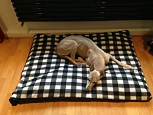 KosiPet® Budget Cheap LARGE BLACK GINGHAM FLEECE Dog Bed,Dog Beds,Pet Bed,Dogbed,Dogbeds,Petbed,Petbeds,