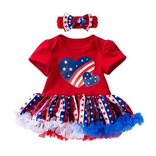 BURFLY Baby Kind Unabhängigkeitstag Muster kurzärmeliges, herzförmiges Sterndruckkleid + Haar mit süßem Anzug -