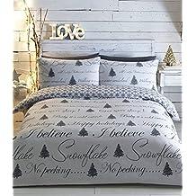 Árbol de Navidad cama tamaño King funda de edredón y 2funda de almohada juego de ropa de cama gris color blanco de Navidad adultos