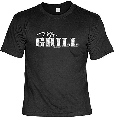 cooles witziges Fun T-Shirt für Herren in der Farbe schwarz mit Grill Motiv ideales Geschenk Schwarz