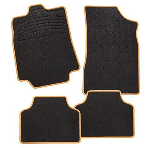 CarFashion 247890 Calypso Orange AL1 | Auto Fussmatte in schwarz | Automatten | schwarzer Trittschutz | orange Hochglanz Kettelung | Auto Fussmatten Set ohne Mattenhalter
