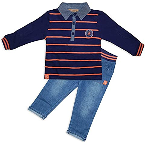 Bambino 2Polo a righe jeans Outfit Set