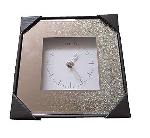 Home Decor Mirrored Glitter Silver Square Clock