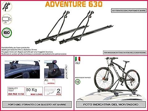 Porte-vélo de toit Ford Focus III à partir de 20115portes en acier en kit de 2pièces y compris barres de toit de toit