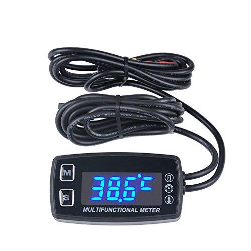 Runleader, tachimetro LED, contaore, termometro, misuratore di temperatura per motori fuoribordo a benzina, paramotori, tosaerba, coltivatori meccanici, RL-HM035LT