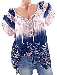 VJGOAL Damen T-Shirt, Damen Mode Kurzarm V-Ausschnitt Spitze Gedruckte Spitze Tops Sommer Lose T-Shirt Bluse