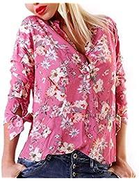 Sweet Lover Bluse Blumen-Print Fischerhemd Oversize Schlupfbluse Flower 5427866b72