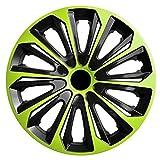 Radkappen / 4 x Universal Radzierblenden - STRONG DUOCOLOR grün-schwarz (16