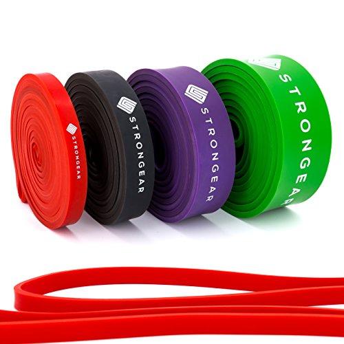 STRONGEAR Premium Pull Up & Fitnessbänder mit digitaler Übungsanleitung - Klimmzug- und Trainings-band für CrossFit u. Calisthenics / Widerstandsband / Resistance Band - verschiedene Größen- Lvl1 - LEICHT (Rot)