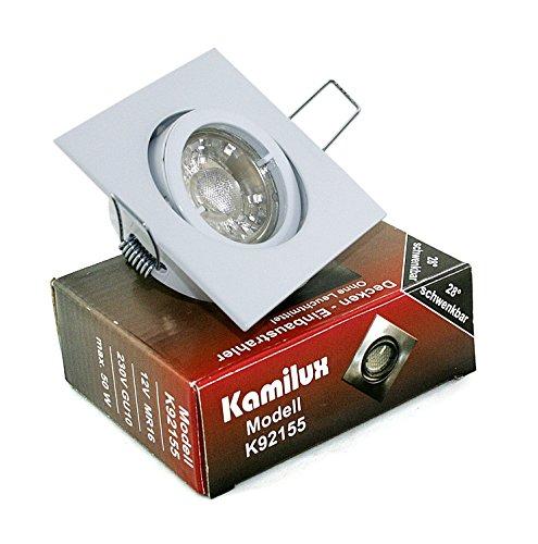 10er Set 230V LED Einbaustrahler Deckenstrahler Kamilux92155 GU10 5W Spot Innen & Aussen Feuchtraum (Weiss / Kaltweiss)