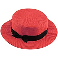 Erduo Diseño de Moda Niños Niñas Mujeres Adultas Verano Protector Solar Boater Hat Tejido clásico de Paja Señoras Gorro de Playa con Parte Superior Plana - Rojo