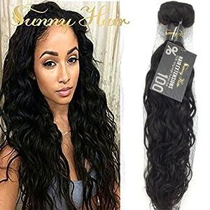 Sunny Tissage Cheveux Naturels Meche Bresilienne Vierges Wavy Ondule Extensions de Cheveux Humains 16 Pouces 100gram/bundle
