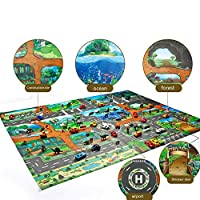 YOUNICER Dinosaur Play Set Jurassic World Educational Game map Kids Play Mat City Road Buildings Parking Map Kids Carpet Playmat