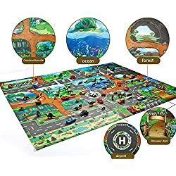 YOUNICER Dinosaur Play Set Jurassic World Educational Mappa del gioco Kids Play Mat City Road Edifici Mappa del parcheggio Tappeto per bambini Tappetino