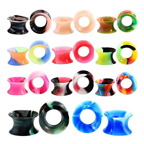 Verjüngungs-kit (Yishelle Ohrtunnel Plugs Expander 11 para Silikon Ohr Stretching Kit Doppel Ausgestelltes Bunte Tunnel Ohr Stretching Plug Gauge Kit Schmuck-Set für Frauen Damen Öse Piercing Schmuck (Größe : 8mm))