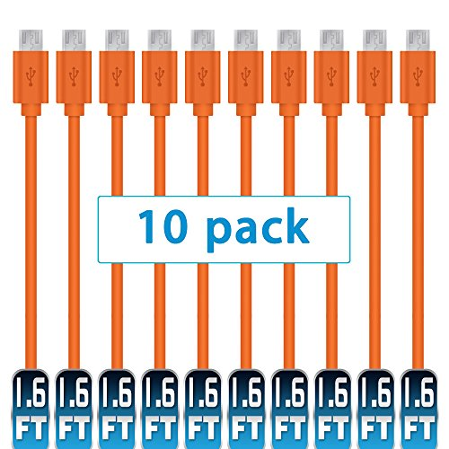 Mopower Micro-USB-Kabel,10 PCS High Speed USB 2.0 A Stecker an Micro B Laden und Synchronisieren Kabel für Samsung Galaxy, HTC, Blackberry und Motorola Smartphones & Tablets Orange ER - Ersatz-akku Kindle Fire