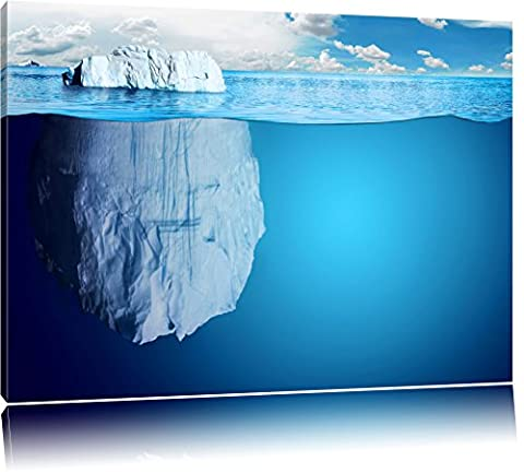 Iceberg géant sous l'eau Format: toile 120x80auf, XXL énormes Photos complètement encadrés par la civière, l'impression de l'image Art mural avec cadre, moins cher que peintures à l'huile et de l'image, aucune affiche ou poster