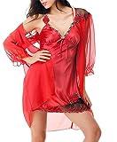 DZW Frauen Spitze Pyjamas Bademantel Nightskirt Nightgown Nachtwäsche Sexy Dessous Unterwäsche Zwei Stücke , b , 175 (XXL) Schlank