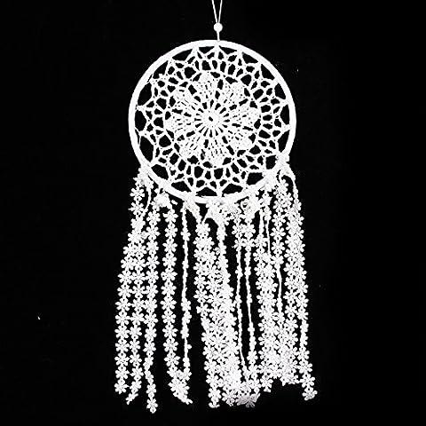 Shukqueen faite à la main Circle-shaped Dream Catcher avec fleur Pompon Mur Décoration à suspendre Ornement pour voiture ou à suspendre au mur