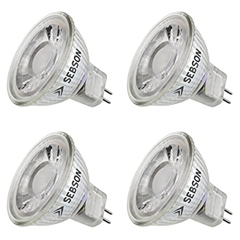 SEBSON® 4x MR16 GU5.3 5W LED, Warm White, 35W Replacement for Halogen, COB LED, Spotlight 12V DC