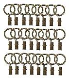 Upstore 24rostfrei Vintage Metall Home Dekorative Starke Dusche Draperie Klemmen Ringe Stahl Fenster Vorhang Kleiderbügel Haken Halter (Ringe Innen Durchmesser 32mm/3,2cm) 32MM Bronze