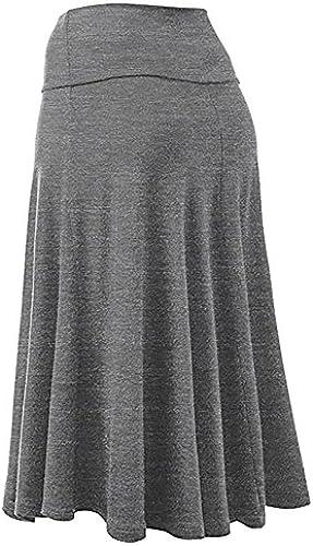 Auifor Frauen hohe Größe plissiert eine Linie Langen Rock Front Slit Belted Maxi Rock