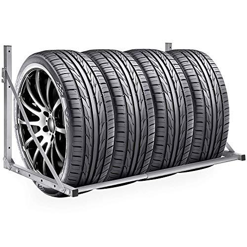 Set porta pneumatici , porta pneumatici in steel per Montaggio a Parete di Ruote e Pneumatici per Auto Portata Fino a 300lbs - Salvaspazio