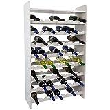 SunDeluxe Weinregal Bacchus Premium für 56 Flaschen - Massives Flaschenregal 72 x 25 x 119cm - Weinschrank XL Natur Holz Aus Kiefernholz, Farbe:Weiß