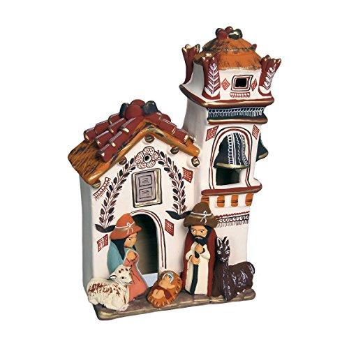 Discount ethnique – Crèche terre cuite église Chiclayo mesure 25 x 15 cm