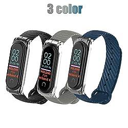 Armband für Xiaomi Mi Band 4, Carbon Ersatzbänder für Xiaomi Mi Band 4, dreifarbiger Wechselanzug (Schwarz + Grau + Sternblau)