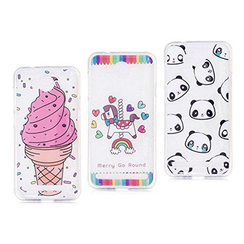Huawei Y3 II hülle, Schützende Weiche Voller Körper 360 Grad TPU Gel Transparentes Silikon handyhülle für Huawei Y3 2 Autoabdeckungen Clear Case [Panda+Ice Cream+Einhorn ]