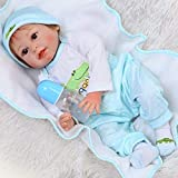 NPKDOLL Wiedergeborene Babypuppe Silikon Junge 22 Zoll 55 cm Reborn Baby Doll Krokodil-Muster Kleidung Kinder Spielzeug Anzug