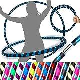 Pro Hula Hoops (UltraGrip/Glitter) Travel Hula Hoop - Fitness Adulte Voyage Pliable Hula Hoop Pondéré, pour Aerobic et Hoop Danse (Diam:100cm, Lesté:640g) (Noir/Bleu Glitter)