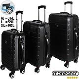 Monzana 3er Kofferset Hartschalenkoffer Reisekofferset Koffer Trolley ✔gummierte Zwillingsrolle ✔ABS-Schale ✔Alu-Teleskopgriff ✔schwarz