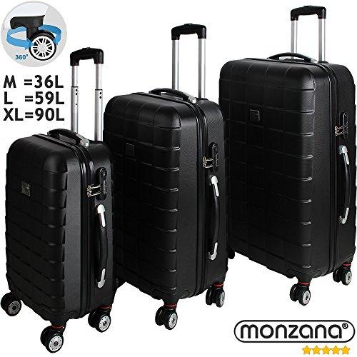 Monzana® 3er Kofferset Hartschalenkoffer Reisekofferset Koffer Trolley ✔gummierte Zwillingsrolle ✔ABS-Schale ✔Alu-Teleskopgriff ✔schwarz