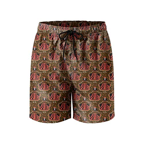 Jiger Funny Brown Mexican Colorful Skull Makeup Design Quick Dry Man's Beach Shorts XL (Under Armour-make-up)