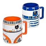 Ideal casa Pack de 2 Tazas de gres. Mugs con Relieve de los Personajes de Star Wars BB-8 y R2-D2