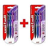 Uni-Ball Jetstream Farben–sxn-150C–Einziehbares 0,7mm Rollerball–2x Schwarz, Blau, und Violett Twin Pack (6Stifte)