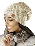 Mikos chaud bonnet beanie de fin tricot avec motif de tresse et doublure en polaire très doux, unisex, 654 (clair beige)