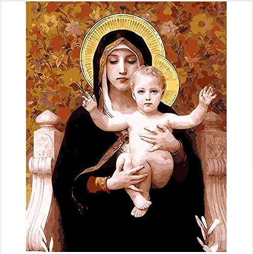 WGXCC Dekor Mutter Gottes Ölgemälde Bilder Nach Zahlen Digital Bilder Färbung Von Hand Einzigartiges Geschenk Dekoration Jungfrau Maria 40X50 cm
