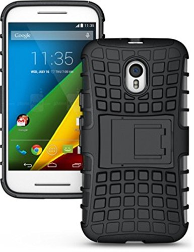 evonyx Defender Tough Hybrid Armour Shockproof Hard PC with Kick Stand Rugged Back Case Cover for Moto G3