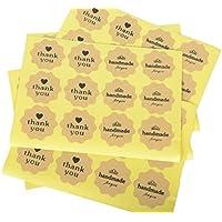 "Funcoo - Etiqueta adhesiva para Scrapbooking decorativa, 240 unidades, diseño con texto ""handmade"", Hand Made+Thank You(4x4cm)"