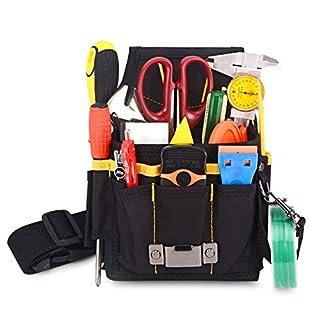 Winjun 1 Stück Schwarz Professionelle Wasserdicht Werkzeugtasche Gürteltasche Werkzeugbeutel mit Gürtel für Elektriker Tischler Bauarbeiter