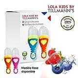 Lola Kids Tetine Grignoteuse Bebe/ 2 Grignoteuses + 6 Tetines fruit Evolutives / En Silicone Medical et Sans Bisphénol A / Anneau d'Alimentation soulage les gencives - Norme CE