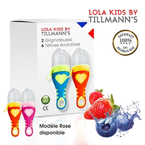Lola Kids Tetine Grignoteuse Bebe/ 2 Grignoteuses + 6 Tetines fruit Evolutives/En Silicone Medical et Sans Bisphénol A/Anneau d'Alimentation soulage les gencives - Norme CE