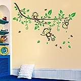 Saingace® Wandaufkleber Wandtattoo Wandsticker,Dschungel-Affe-Baum scherzt Baby-Kinderzimmer-Wand-Aufkleber-Wand-Dekor-Abziehbild entfernbar